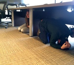 Jocelyn and Peter covering under the table